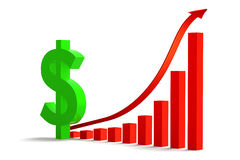 Financial Graph. 3D rendered illustration of dollar sign standing next to a red arrow, growth  bar graph, isolated in white background Stock Photography