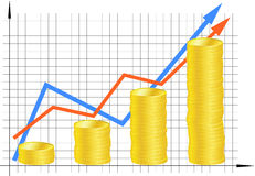 Financial graph. With coins. Vector Royalty Free Stock Image
