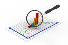 Financial graph. And magnifying glass Royalty Free Stock Photos
