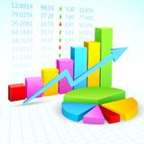 Financial Graph. Illustration of business financial graph with stock listing Royalty Free Stock Photo
