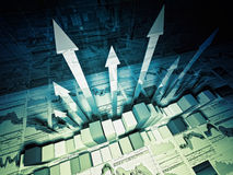 Financial graph 3d background. Fine 3d image of growing arrows and business chart Stock Image