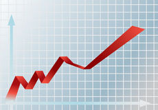 Financial graph. Picture of red and blue financial graph showing rise Stock Photo
