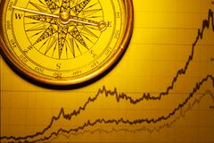 Financial graph. A compass on financial graph,close up Royalty Free Stock Image
