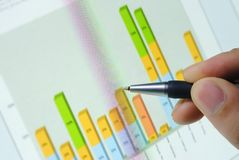 Financial graph. Pen point at financial graph on computer screen,close up stock images