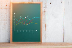 Financial graph analysis on chalkboard. Texture background and old plank wooden wall and floor business concept.jpg Stock Photos
