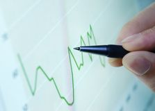 Financial graph analyzing Royalty Free Stock Photos