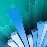 Financial graph background. Blue  stat background and reflection Stock Photo