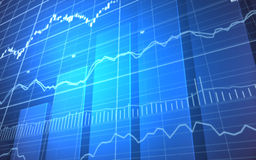 Financial Graph with Bars. 3D rendering of a stock market graph on a blue background Stock Photo