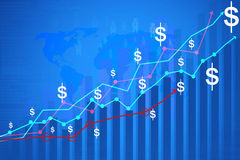 Financial  graph. On blue background Stock Images