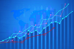 Financial  graph. On blue background Stock Photos