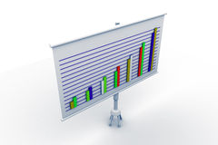 Financial graph board. In white background Royalty Free Stock Photo