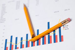 Financial graph and broken pencil Royalty Free Stock Photos