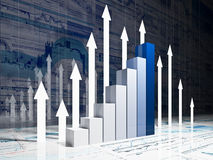 Financial graph chart. Fine 3d image of financial business chart Royalty Free Stock Photo