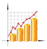 Financial graph with coins. Vector. Stock Photography