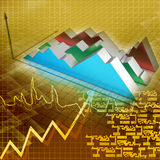 Financial graph. In color background Royalty Free Stock Photo