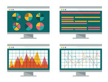 Financial graph on computer screen. Flat design element. vector user interface Royalty Free Stock Photography