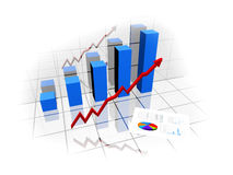 Financial graph. 3d financial graph for growing market Stock Photography
