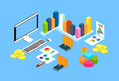 Financial Graph Diagram Chart Desktop Computer Workplace, Finance Concept 3d Isometric Workplace. Vector Illustration Royalty Free Stock Images