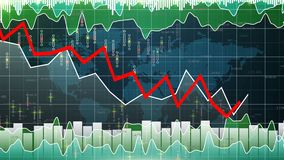 Financial graph going down, market downfall, bear stock market losing value