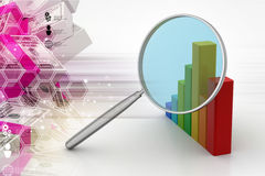 Financial graph with magnifier. In color background Stock Photo