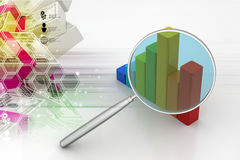 Financial graph with magnifier. In color background Royalty Free Stock Photo