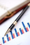Financial graph and pen Royalty Free Stock Image