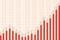 Financial graph pencil. A financial (or else) graph followed by red pencil, in the upper left blank space you can write at your desire Stock Images