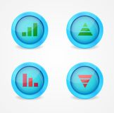 Financial graph set on glossy icons Royalty Free Stock Photo