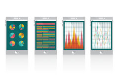 Financial graph on smart phone. Flat design Element.Colourful Royalty Free Stock Image