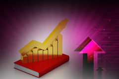 Financial graph in success on book. In color background Royalty Free Stock Photos