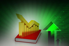 Financial graph in success on book. In color background Royalty Free Stock Images