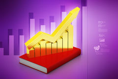 Financial graph in success on book. In color background Stock Photos
