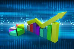 Financial graph in success. In color background Stock Image