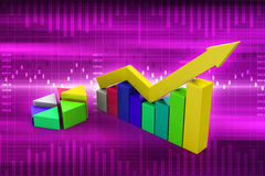 Financial graph in success. In color background Stock Images
