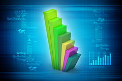 Financial graph in success. In color background Stock Photography