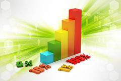 Financial graph in success. In color background Stock Photos