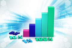 Financial graph in success. In color background Royalty Free Stock Photography