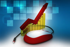Financial graph in success with mouse. In color background Royalty Free Stock Photo