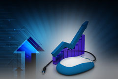 Financial graph in success with mouse. In color background Royalty Free Stock Photography