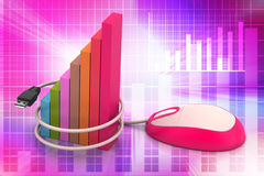 Financial graph in success with mouse. In color background Stock Photo