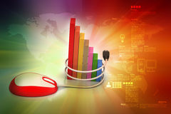Financial graph in success with mouse. In color background Stock Photos