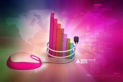 Financial graph in success with mouse. In color background Royalty Free Stock Images