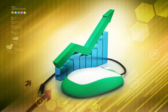 Financial graph in success with mouse. In color background Royalty Free Stock Photos