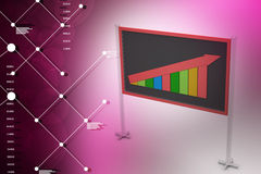Financial graph in success showing blackboard. In color background Royalty Free Stock Photography