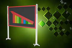 Financial graph in success showing blackboard. In color background Stock Photos