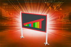 Financial graph in success showing blackboard. In color background Royalty Free Stock Photo