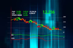 Financial graph on technology abstract background Stock Images