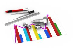 Financial graph with tools. In white background Stock Images