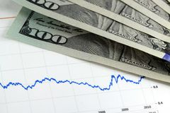 Financial graph with US currency Stock Photo