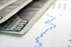 Financial graph with US currency Royalty Free Stock Photo